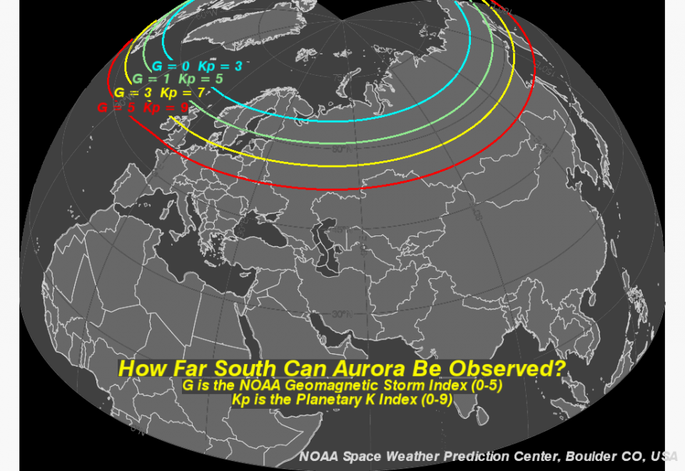 Tips On Viewing The Aurora NOAA NWS Space Weather Prediction - Kp index map us