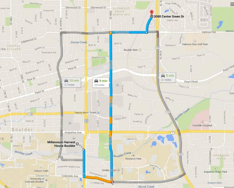 Directions from Millennium Hotel to UCAR Center Green