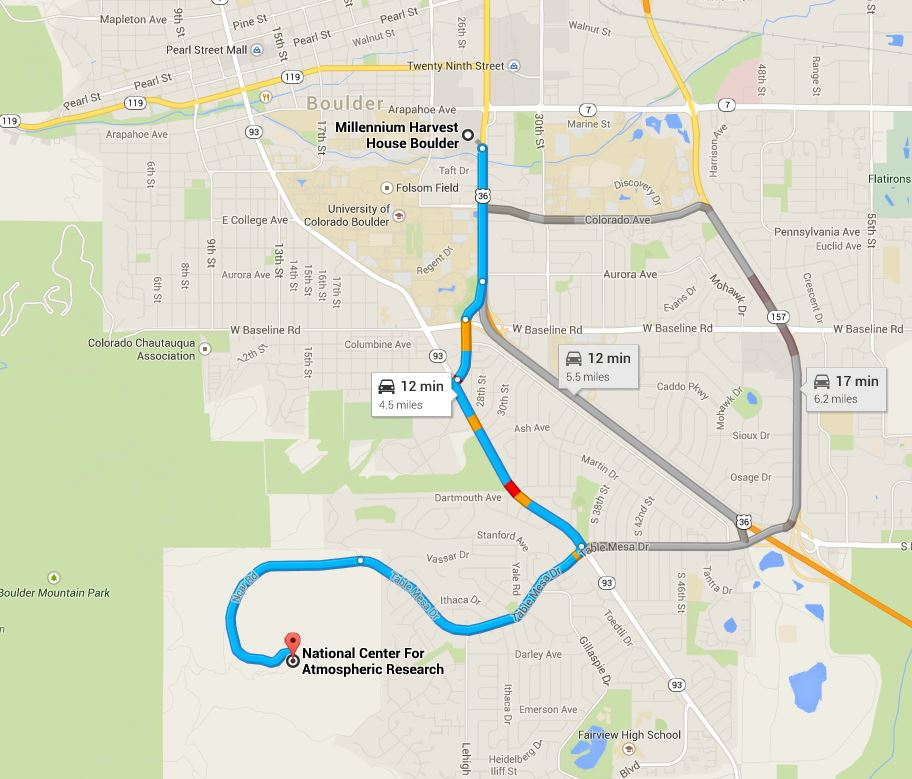 Directions from Millennium Hotel to NCAR Mesa Lab