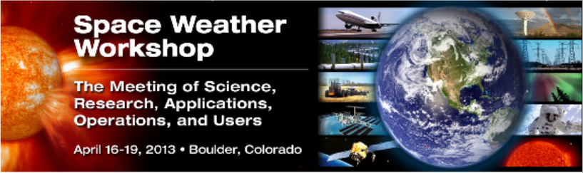 A banner graphic for the 2013 Space Weather Workshop.