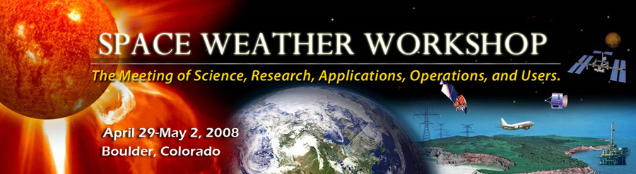 A banner graphic for the 2008 Space Weather Workshop.