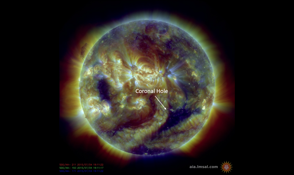 A coronal hole is now in a geoeffective position and G1-Minor geomagnetic storms commenced at 1935 UTC (3:35pm ET) on this 4th of July