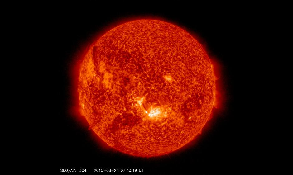 SDO/AIA 304 snapshot of the flare provided by the Solar Dynamics Observatory spacecraft.