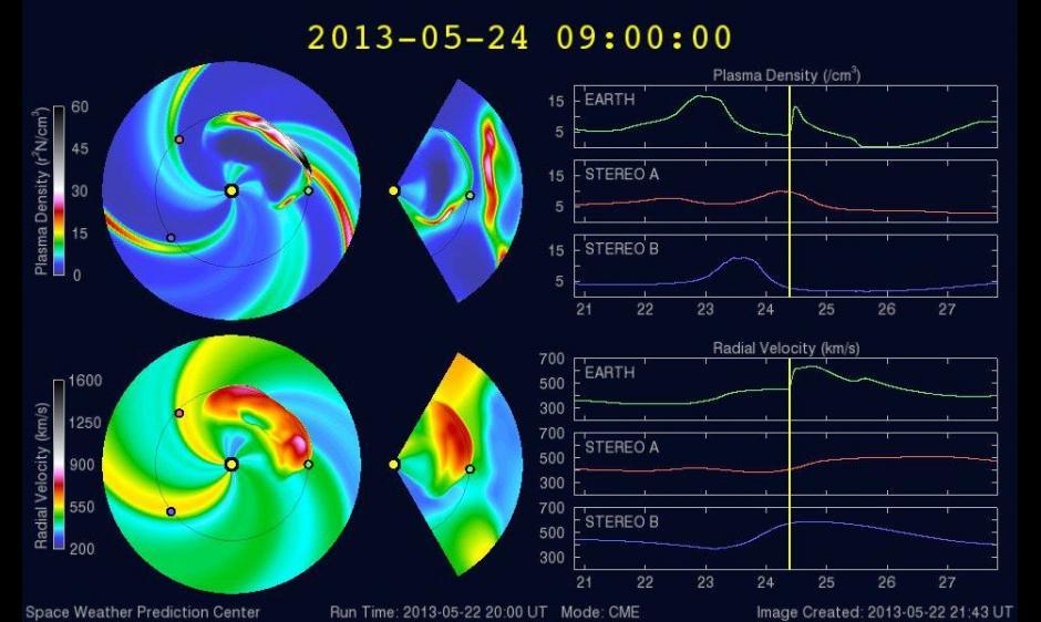 Enlil model depiction of potential storming