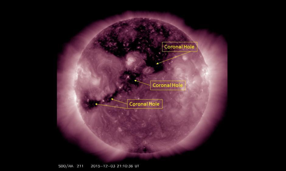 SDO/AIA satellite imagery indentifying coronal holes