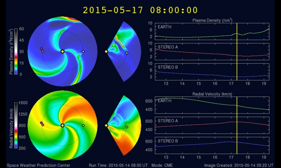 WSA-Enlil output showing CME arrival on 17 May.