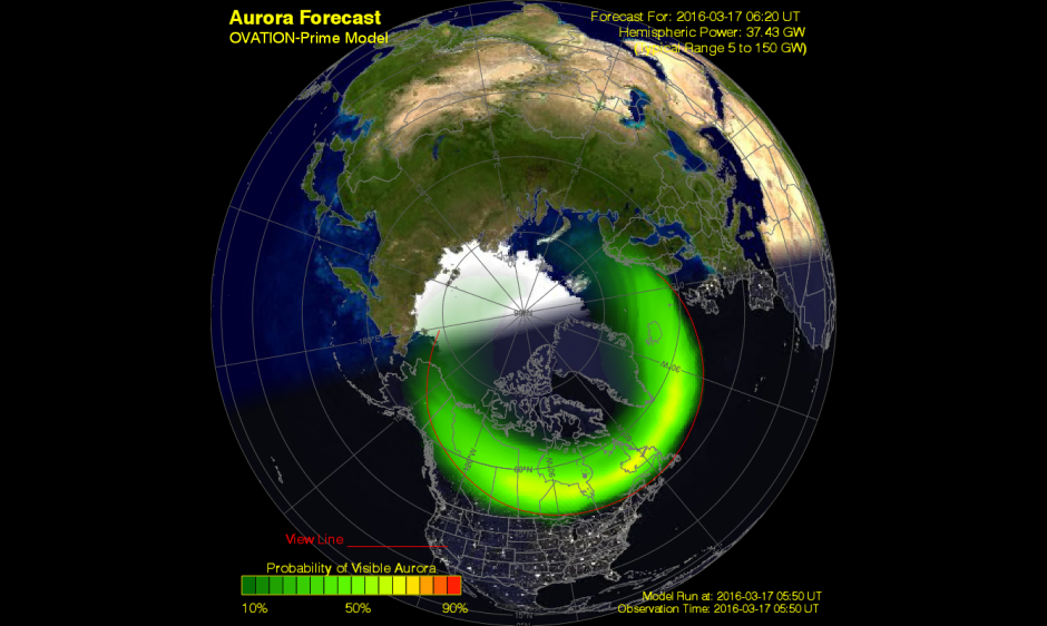 Potential Aurora Borealis Viewing Locations