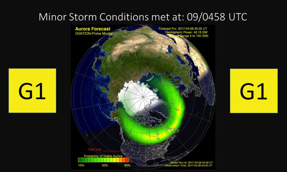 Ovation Model Showing Potential Aurora Borealis Viewing Locations