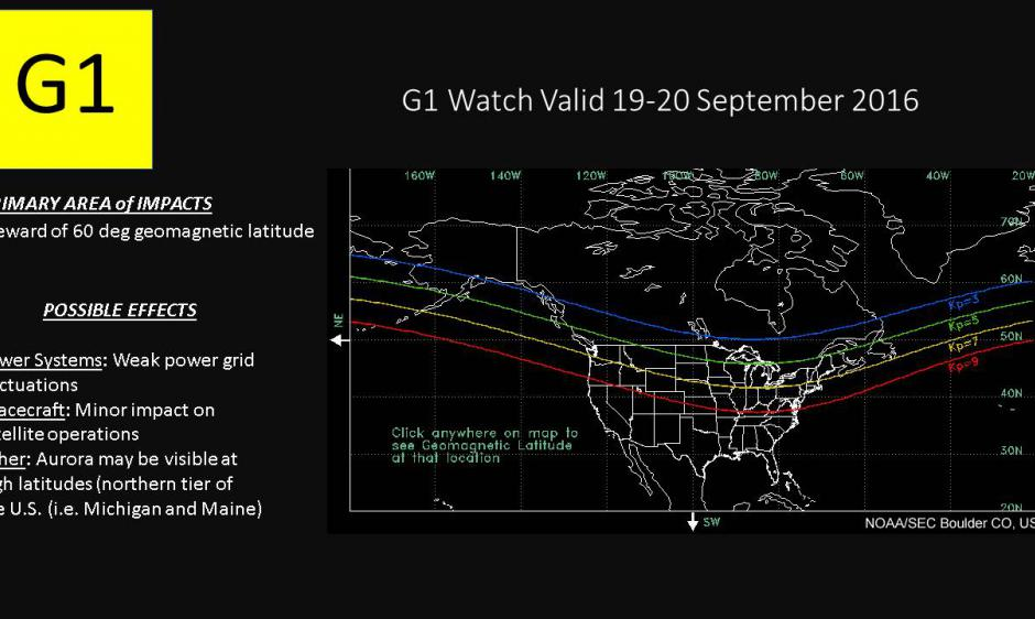 G1 Minor Geomagnetic Storm Watch Issued For 19 20