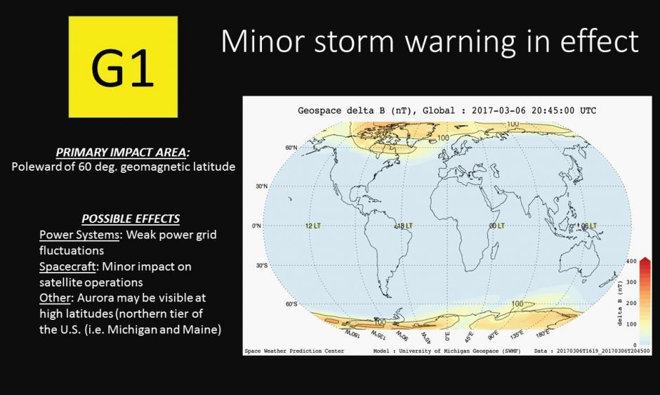 G1 Warning delt B plot for 6 March 2017