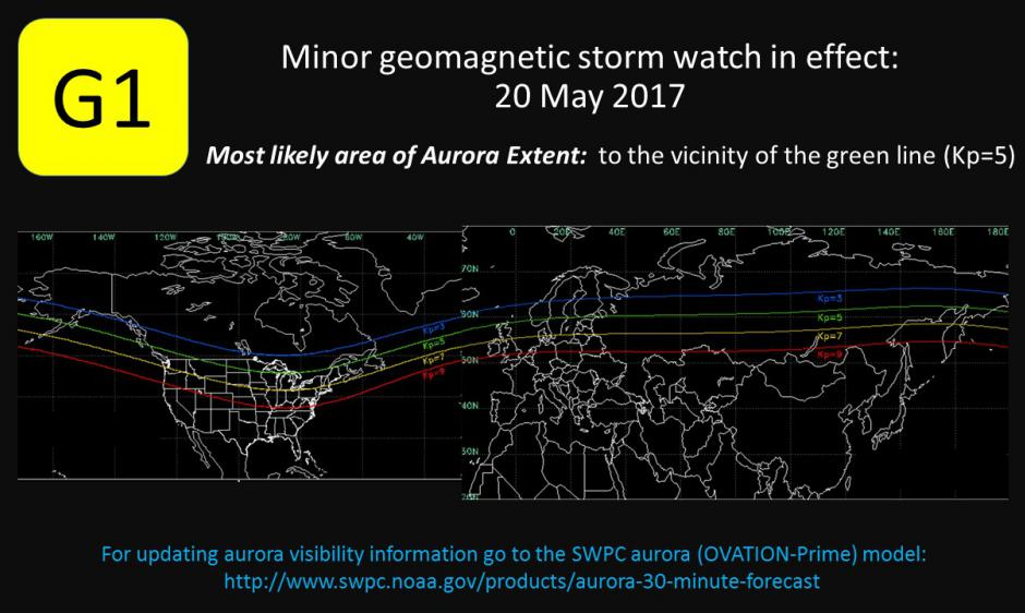 Image depicting where aurora is likely to be observed