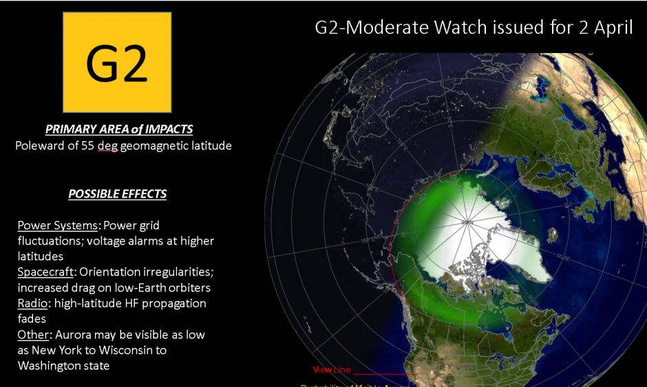G2 storming effects and Auroral oval forecast