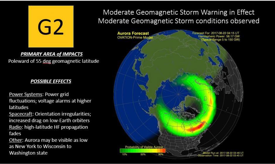 G2 Warning/Observed 22 Aug Aurora Forecast