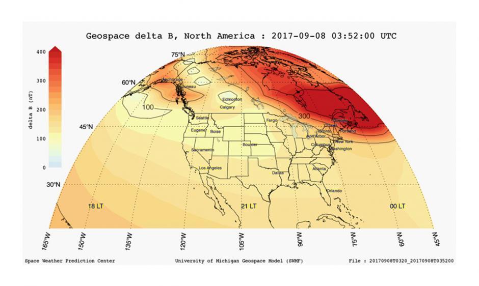 Geospace delta B North America example product