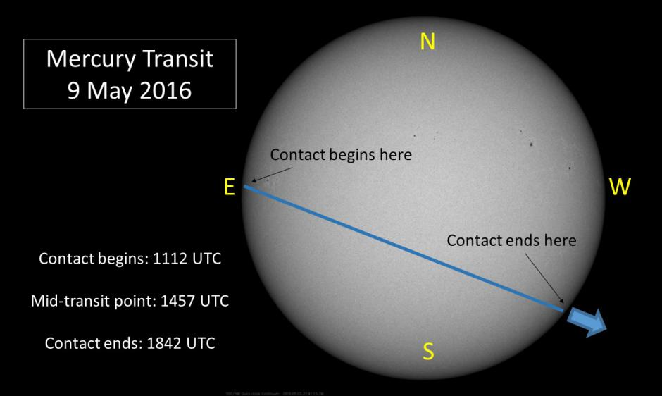 Mercury Transit Path on 9 May 2016