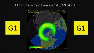 G1 (Minor) Geomagnetic Storm Conditions Observed