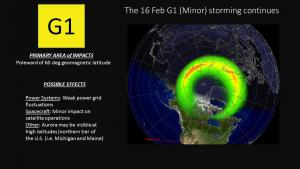 G1 (Minor) storming conditions continue on 16 Feb 2016