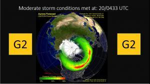 Ovation Auroral oval forecast/G2 Alert