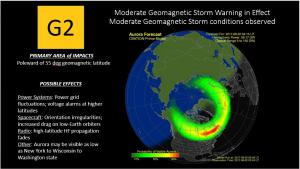 G2 Warning/Observed 22 Aug Aurora Forecast