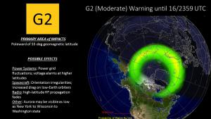 G2 (Moderate) geomagnetic storming warning until 16/2359 UTC
