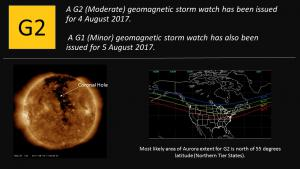 G2 Watch issued for 4 August; G1 Watch issued for 5 August