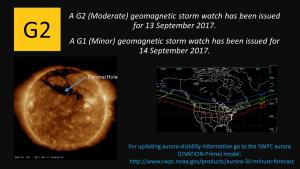 G2 Watch issued for 13 September; G1 Watch issued for 14 September