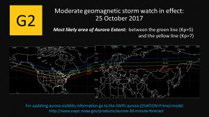 G2- Moderate geomagnetic storm watch issued for 25 Oct 2017.