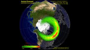 Ovation Auroral Model Forecast 13 April at 0245 UTC