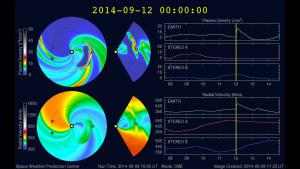 a model depiction of a CME expected to arrive at Earth on 12 September