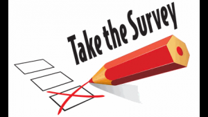 An announcement to take a survey of the new webpage