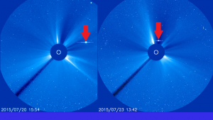 SOHO/LASCO C3 Coronagraph Image of a bright dot moving across the field of view.